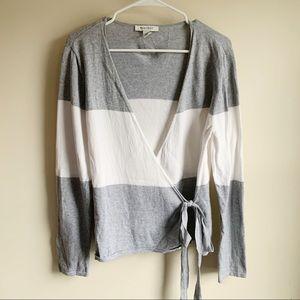 White House Black Market Gray White Wrap Sweater